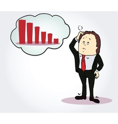 Businessman and diagram cartoon character Person vector image