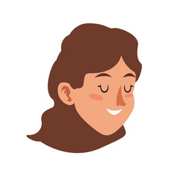 Character face woman young close eyes vector