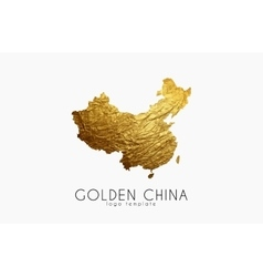 China map Golden China logo Creative China logo vector image