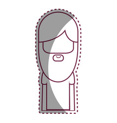 Contour man with beard and hairstyle icon vector