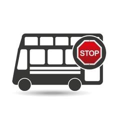 double decker bus stop road sign design vector image vector image