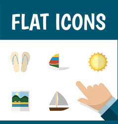 Flat icon summer set of yacht reminders beach vector