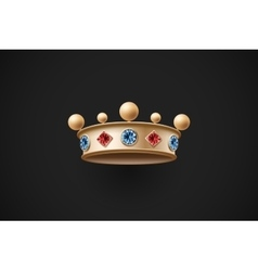 Icon of gold royal crown with red and blue diamond vector image