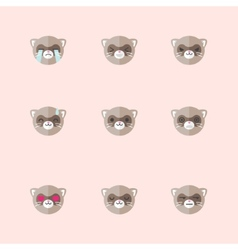 minimalistic flat ferret emotions icon set vector image