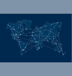 modern blue digital world map concept vector image