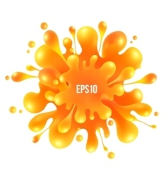 Orange paint splash isolated on white background vector image vector image