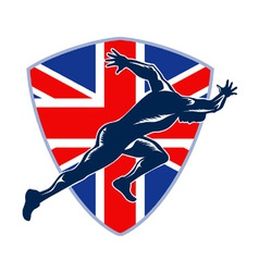 Runner sprinter start british flag shield vector