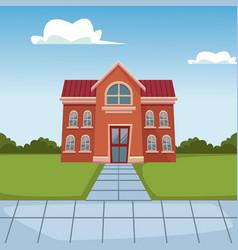 school building cartoon vector image