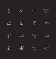 Set of 16 editable weather outline icons includes vector
