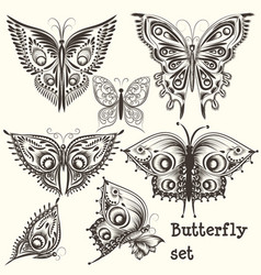 set of filigree beautiful butterflies for design vector image vector image