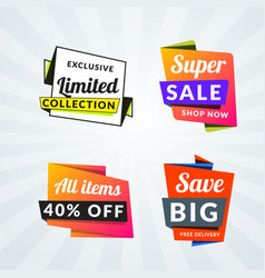 Set of sale banners and labels design elements vector