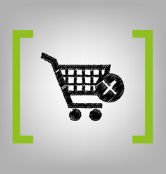 Shopping cart with delete sign black vector