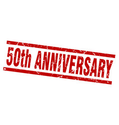 square grunge red 50th anniversary stamp vector image