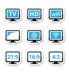 Tv monitor screen icons set vector