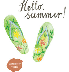 Watercolor flip flops vector