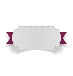 White blank Card on purple Ribbon vector image
