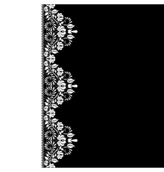 white lace border on black background vector image vector image