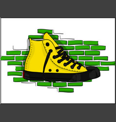 yellow sneakers on a background of a jelly brick vector image vector image