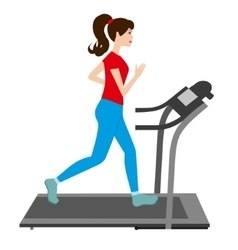 Young woman runs on a treadmill Sports trainer vector image