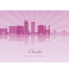 Omaha V2 skyline in purple radiant orchid vector image
