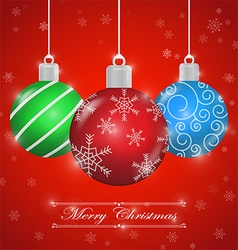 Merry christmas background with ornament ball vector