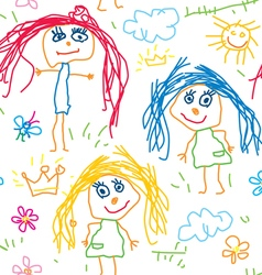 Seamless pattern kids drawing vector image