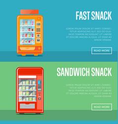 automatic vending machine flyers set vector image