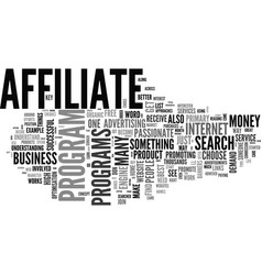 Affiliate is not a dirty word text word cloud vector