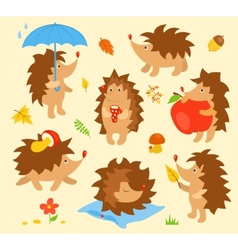 Set of simple cute hedgehogs vector
