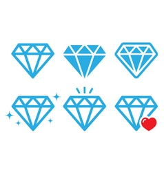 Diamond luxury icons set vector