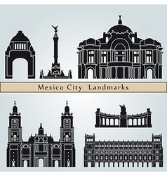 Mexico city landmarks and monuments vector