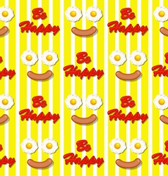 fried egg and sausage in smiling face pattern vector image