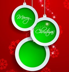 Paper white and green merry christmas on red vector