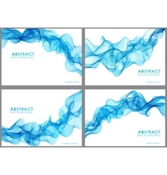 Set of wavy abstract background vector