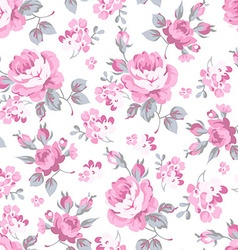 Floral pattern with pink roses vector