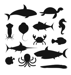 Black icons set of sea marine fish and vector