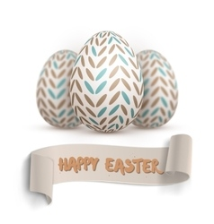 Realistic easter egg set painted vector