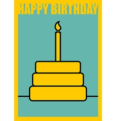 Happy birthday postcard in minimalist style cake vector