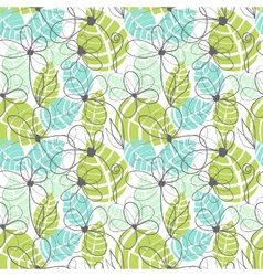 Floral garden pattern summer tropical background vector