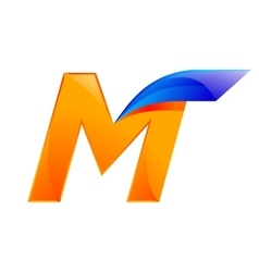M letter blue and orange logo design fast speed vector