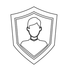 Shield with person icon vector