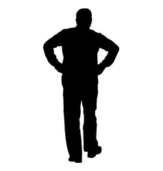 Black silhouette man with hands on his hips vector