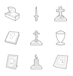 Burial service icons set outline style vector