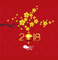 calendar 2018 chinese new year cherry blossom vector image
