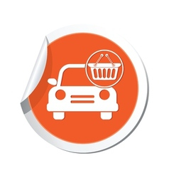 car with basket icon orange label vector image vector image