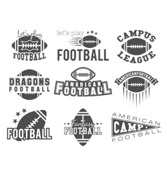 College rugby and american football team badges vector