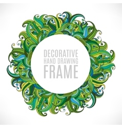 Colorful abstract hand-drawn round pattern green vector image vector image