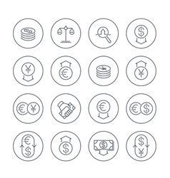 Currency line icons set over white money transfer vector
