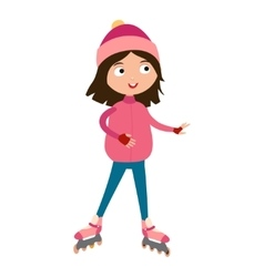 Cute young girl in roller pink skates vector image vector image