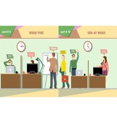 Digital company work time and end of work vector